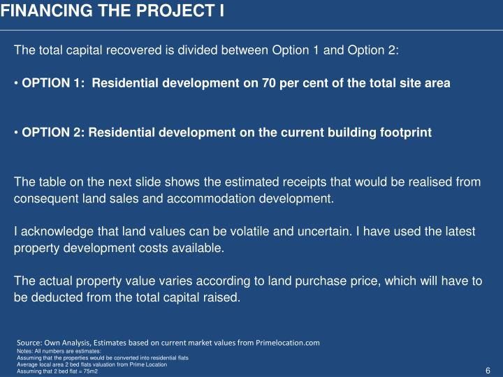 FINANCING THE PROJECT I
