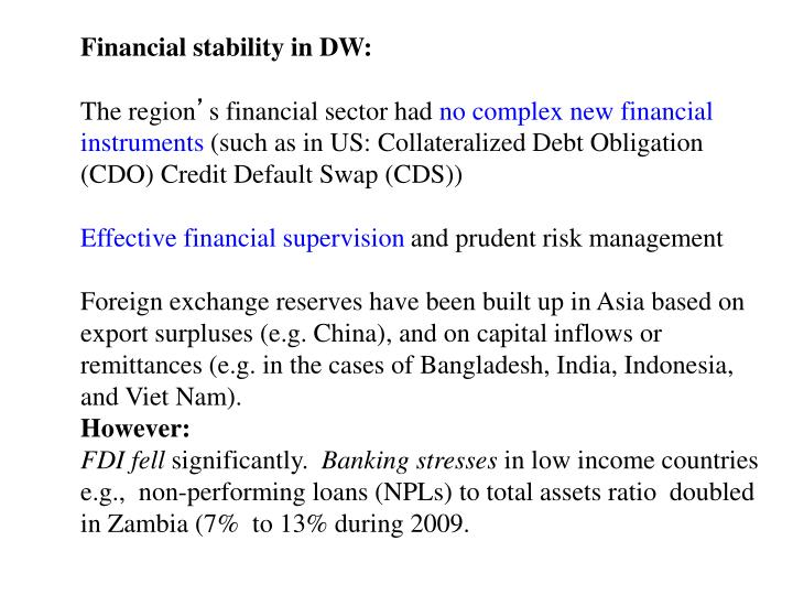 Financial stability in DW:
