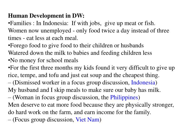 Human Development in DW: