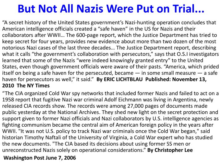 But Not All Nazis Were Put on Trial...