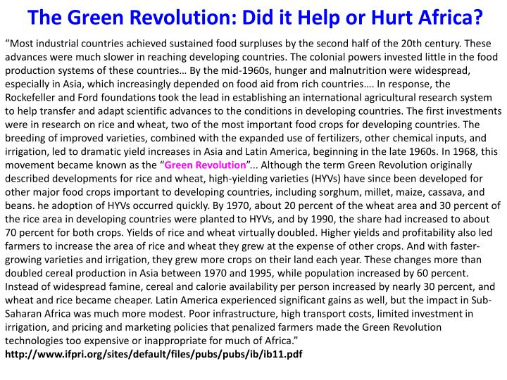 The Green Revolution: Did it Help or Hurt Africa?