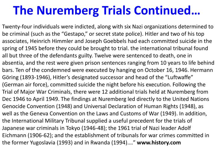 The Nuremberg Trials Continued…