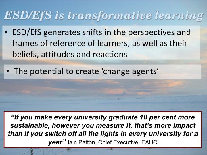 ESD/EfS is transformative
