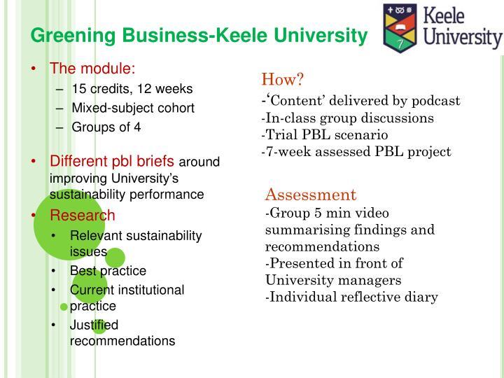 Greening Business-Keele University