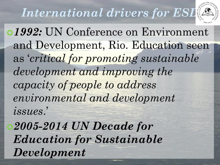 International drivers for ESD