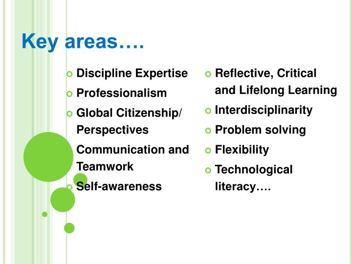 Key areas.