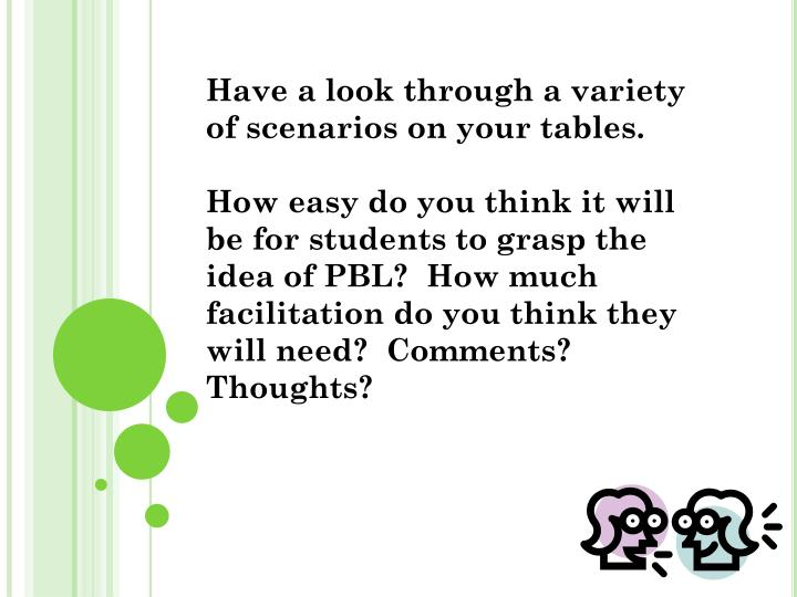Have a look through a variety of scenarios on your tables.