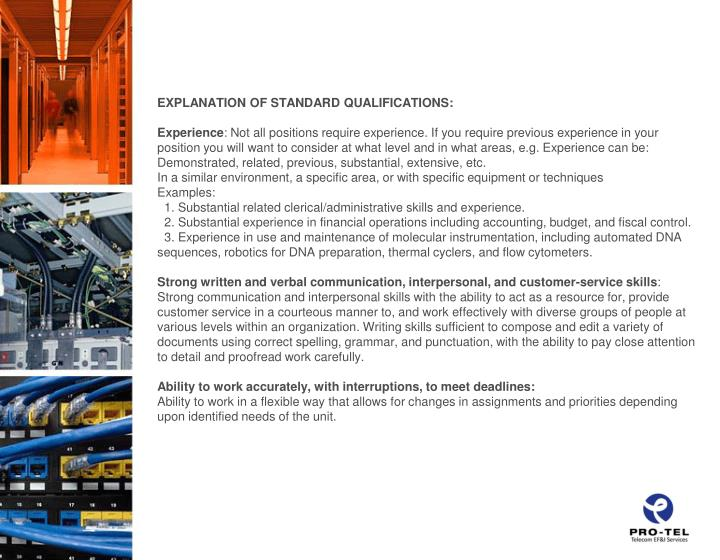 EXPLANATION OF STANDARD QUALIFICATIONS