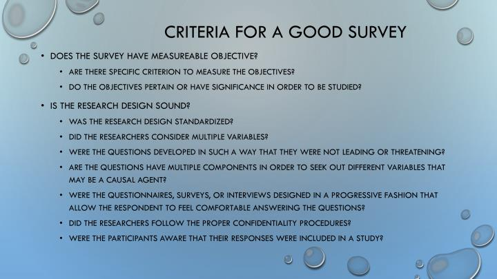 Criteria for a good survey
