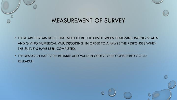 Measurement of survey