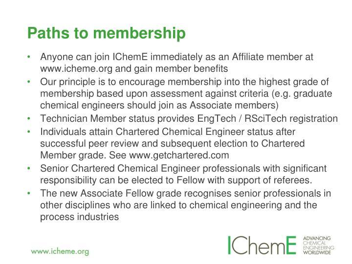 Paths to membership