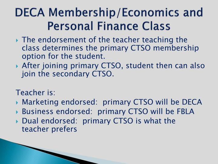 DECA Membership/Economics and Personal Finance Class