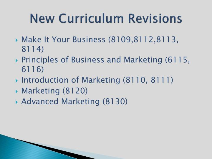 New Curriculum Revisions