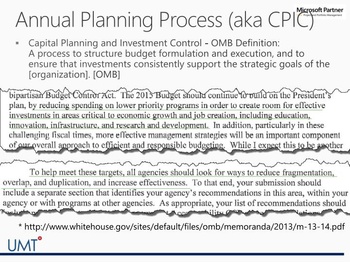 Annual Planning Process (aka CPIC)
