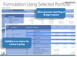 formulation using selected portfolio