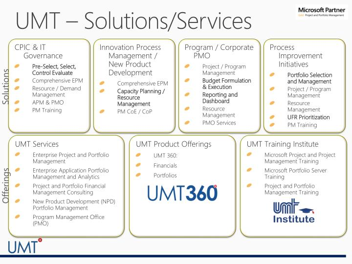 UMT – Solutions/Services