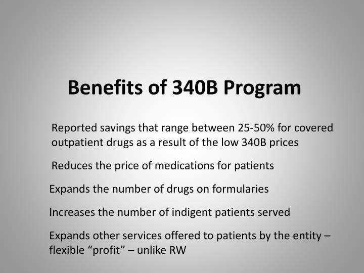 Benefits of 340B Program