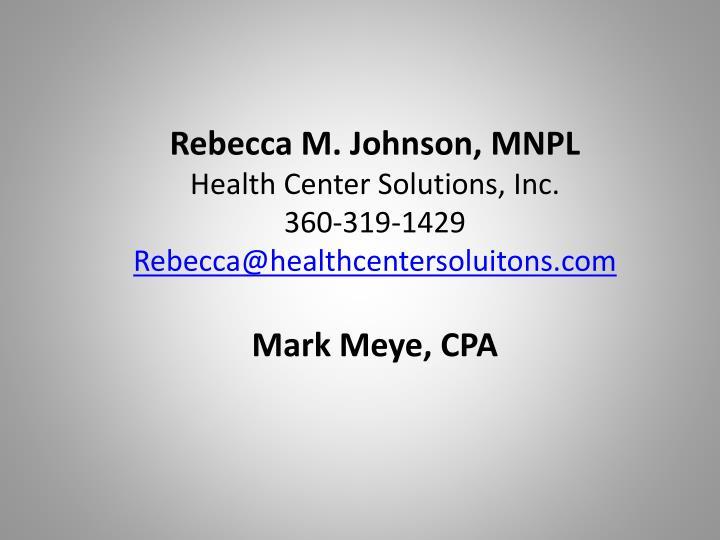 Rebecca M. Johnson, MNPL