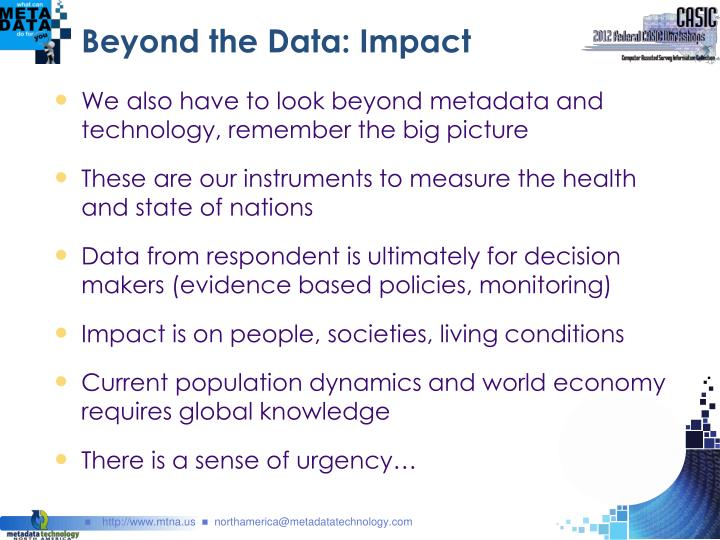 Beyond the Data: Impact