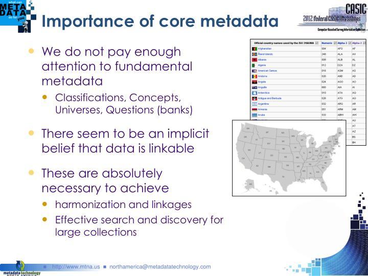 Importance of core metadata