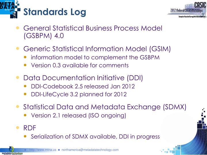 Standards Log