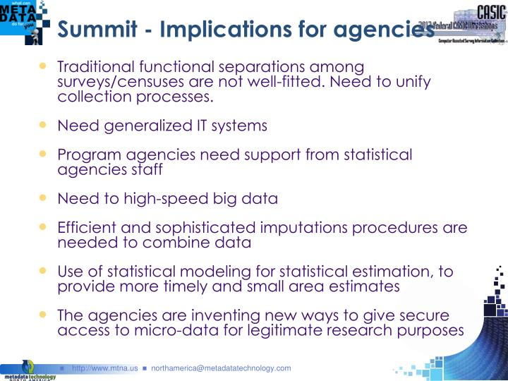 Summit - Implications for agencies