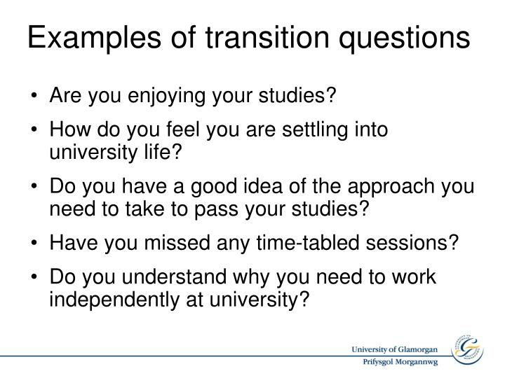 Examples of transition questions