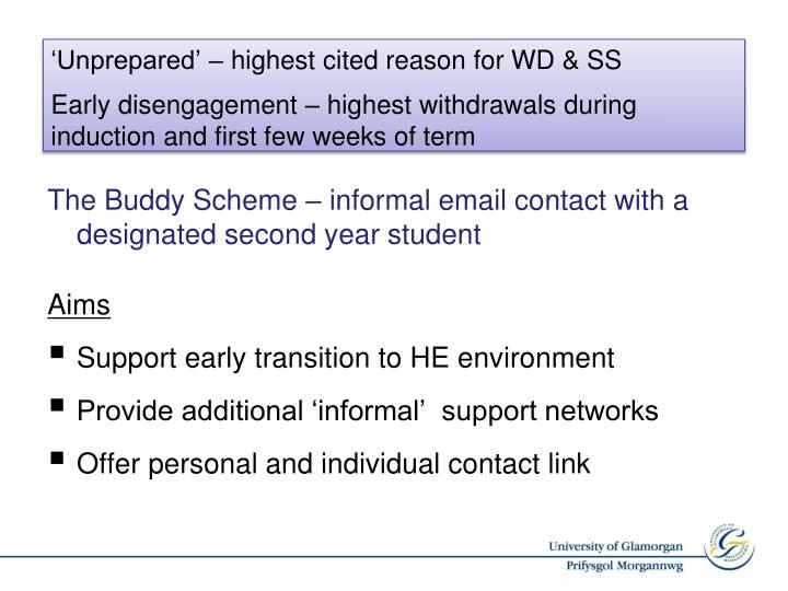 The Buddy Scheme – informal email contact with a designated second year