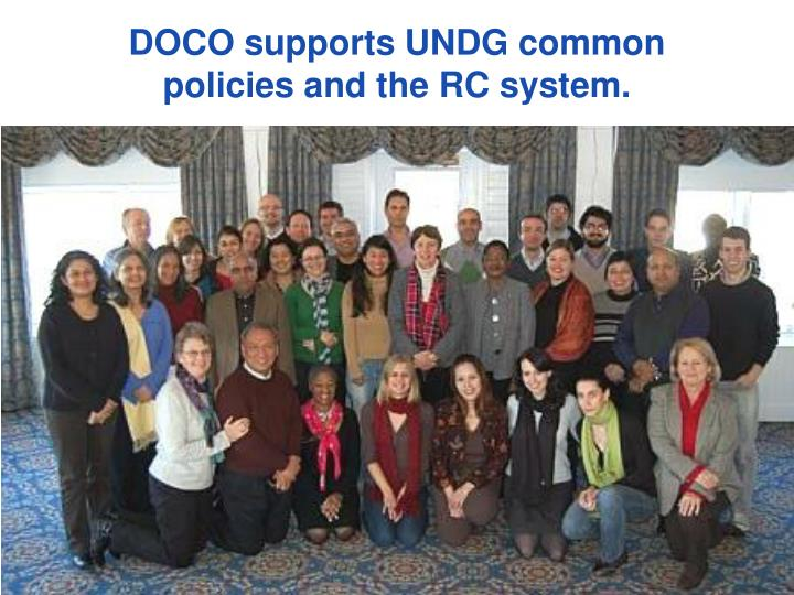 DOCO supports UNDG common