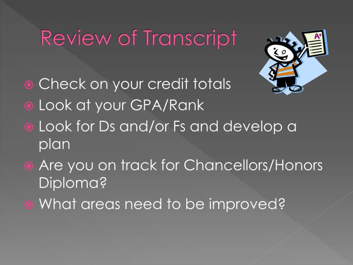 Review of Transcript