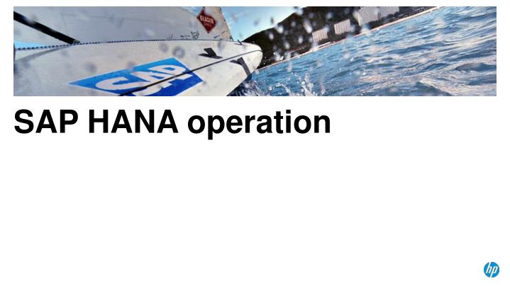 SAP HANA operation