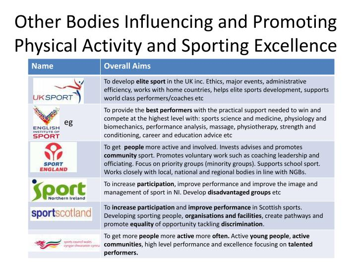 Other Bodies Influencing and Promoting Physical Activity and Sporting Excellence