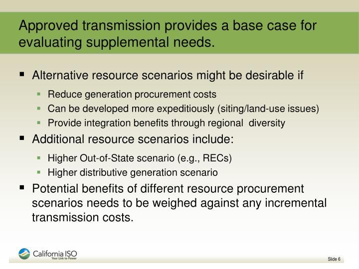 Approved transmission provides a base case for evaluating supplemental needs.