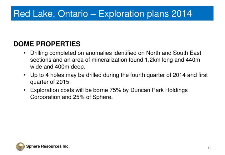 Red Lake, Ontario – Exploration plans 2014