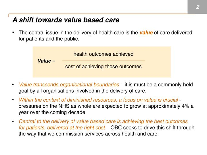 A shift towards value based care