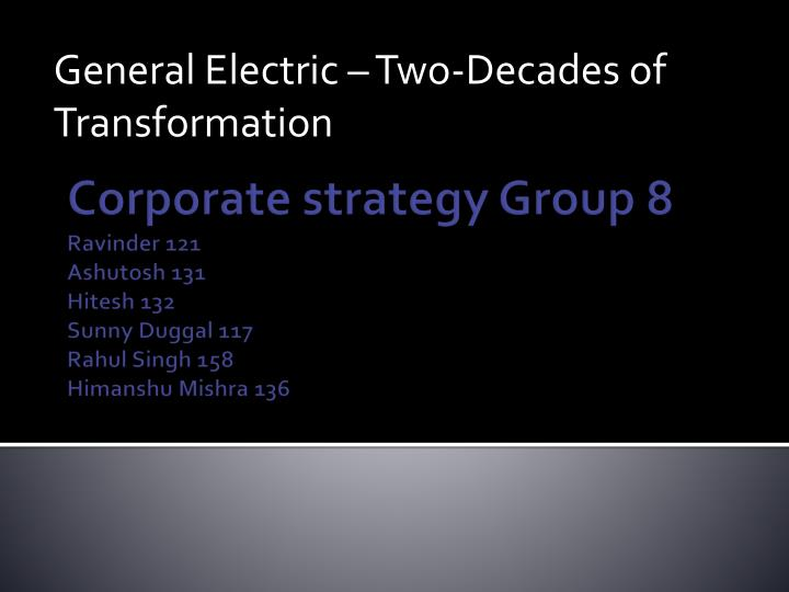 General electric two decades of transformation