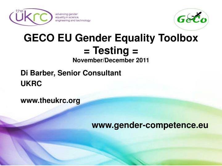 Geco eu gender equality toolbox testing november december 2011