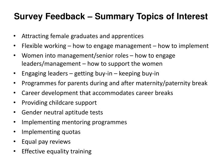 Survey Feedback – Summary Topics of Interest