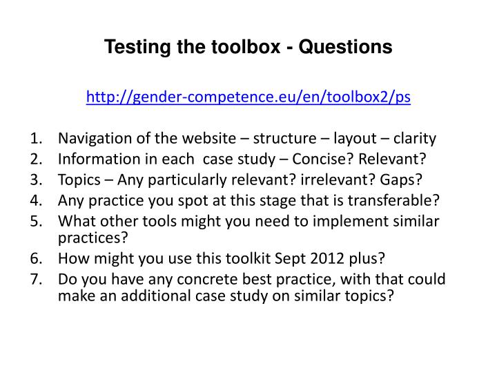 Testing the toolbox questions