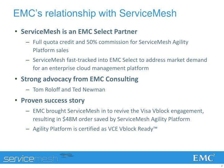 Emc s relationship with servicemesh
