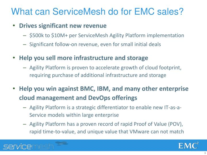 What can servicemesh do for emc sales