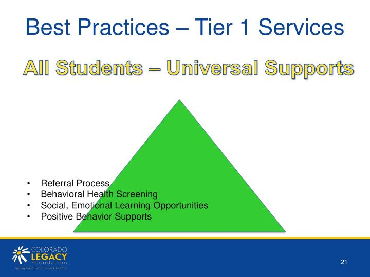Best Practices – Tier 1 Services