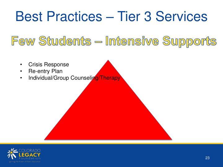 Best Practices – Tier 3 Services
