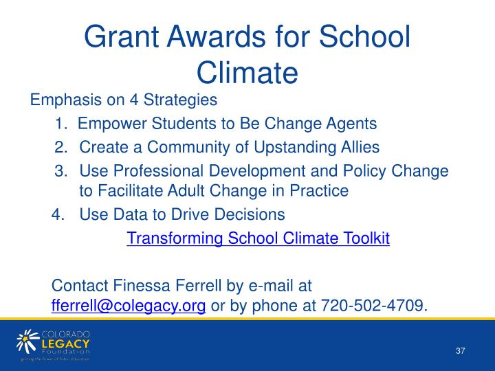 Grant Awards for School Climate