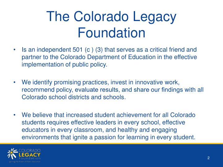 The colorado legacy foundation