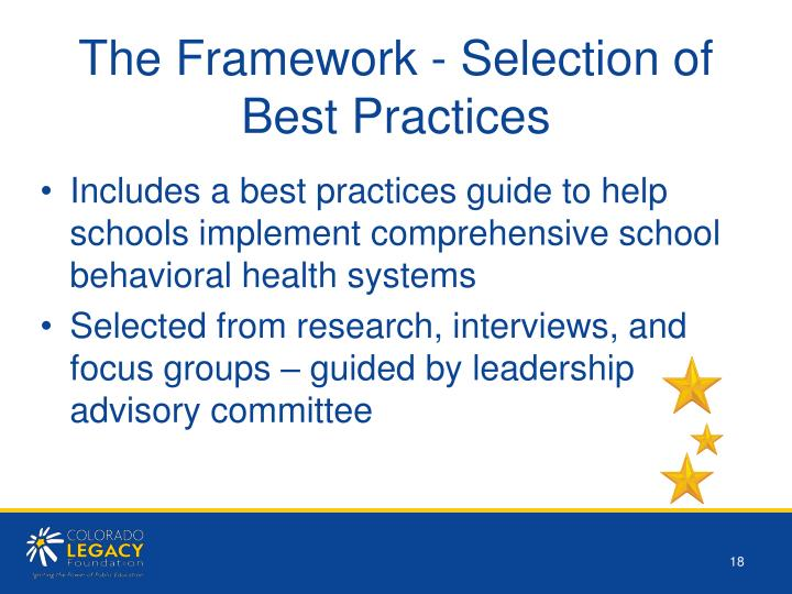 The Framework - Selection of Best Practices