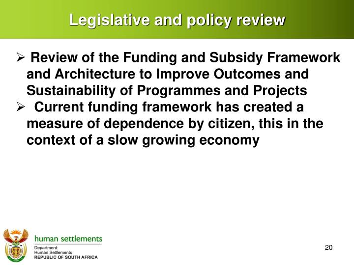 Legislative and policy review