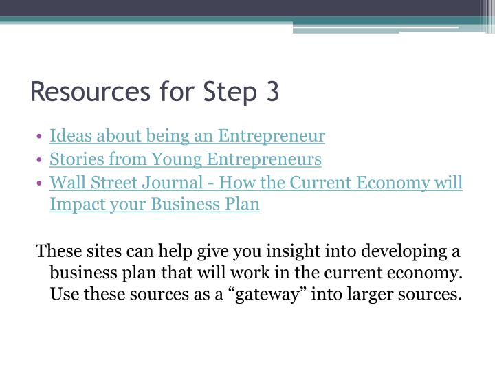 Resources for Step 3