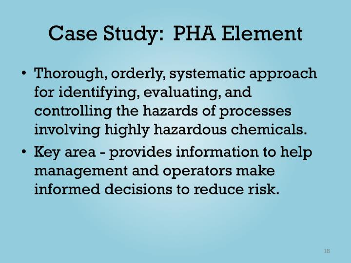 Case Study:  PHA Element