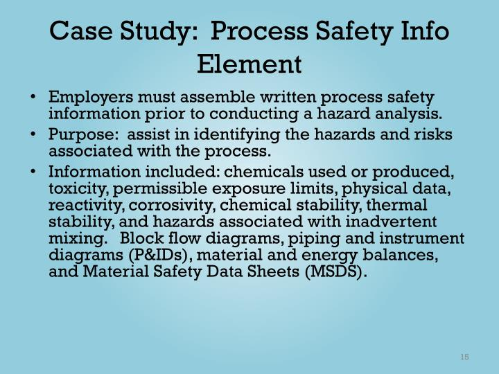 Case Study:  Process Safety